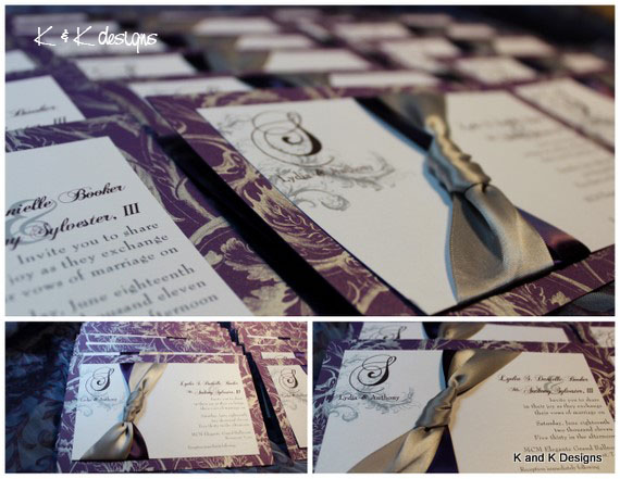 We used a beautiful purple and silver printed paper as the backdrop with a